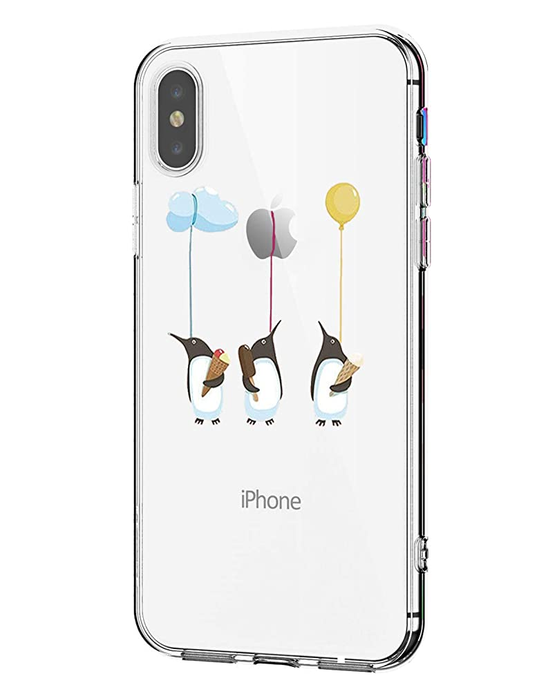 iPhone XS Case Clear ,iPhone X Cover Clear Soft Flexible Slim Thin TPU Cute animals Design Case Rubber Silicone Protective with Fox Penguin Floral Printed Cover for iPhone XS / X 5.8'' (penguin)