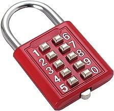 jin MUrldall-Button Combination Security Padlock Digital Lock Suitcase Luggage Drawer Door DIY Toolbox 10-bit Padlock, 5-Position Locking Mechanism red 5 Mechanism Key Blind Old Man Fixed Gym Toolbox
