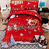 Christmas Bedding Dovet Cover Queen Reversible Santa Claus Deer Printed Duvet Cover with Zipper Closure for Kid Teens Adults Soft Lightweight Microfiber Christmas Bedding 90''x90'' (3 Pcs, Red)