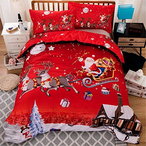 Christmas Bedding Duvet Cover Queen Reversible Santa Claus Deer Printed Comforter Cover with Zipper Closure for Kid Teens Adults Soft Microfiber Christmas Bedding 90''x90'' (3 Pcs, Red)