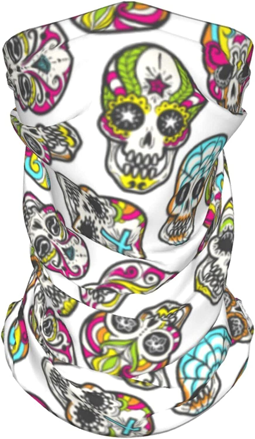 Colorful Mexican Sugar Skull Summer Ice Silk Breathable Face Mask Neck Gaiter Scarf Bandanas for Fishing,Hiking,Running,Motorcycle and Daily Wear
