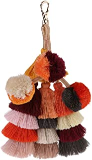 NATFUR Woman Boho Pom Pom Key Chain Bag Accessories Tassel Bag Purse Rainbo Elegant Pretty for Women Cute for Men for Gift Elegant Pretty Beautiful Great Lovely