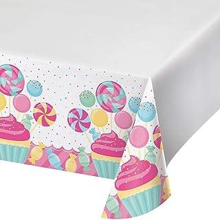 غطاء طاولة بلاستيكي بتصميم باقة من الحلوى باللون الابيض وبابعاد 48 سم طول × 88 سم عرض من كرياتيف كونفيرتينج