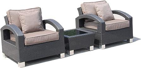 OSMEN Outdoor Furniture - ALMO Balcony 3PC Kit/Set - Wicker Rattan, Grey White (Taupe Cushion)