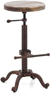 Topower Industrial Retro Vintage Farm Wooden Tractor Stool Kitchen Swivel Height Adjustable bar Stool (Copper)