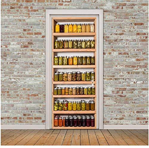 Conservenopslagrek 3D-deursticker poster muurschildering PVC waterdicht zelfklevend decoratie update slaapkamer woonkamer koelkast 77 * 200cm