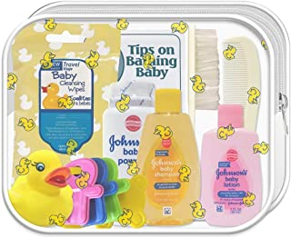 CONVENIENCE KITS Johnson & Johnson Baby Travel Kit, TSA Approved, Baby Shampoo and Accessories, Ideal Gift for Parents of Newborns, Baby Shower Gift, 10-Piece Travel Kit