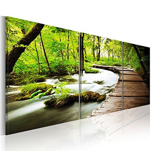 murando - Bilder 150x50 cm Vlies Leinwandbild 3 TLG Kunstdruck modern Wandbilder XXL Wanddekoration Design Wand Bild - Natur Landschaft Wald grün Baum c-B-0021-b-e