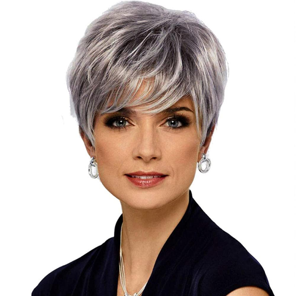 Ladies Short Silver Indefinitely Straight Wig Charlotte Mall Bangs Synth Looking Nature With
