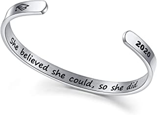 NEWNOVE Graduation Gifts for Her 2020-Engraved Mantra Inspirational Cuff Bangle with 2020 Graduation Cap Graduation Friendship Gifts