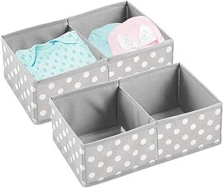 mDesign Juego de 2 Cajas para almacenar Ropa, Cosas para niños y más – Organizadores de cajones Infantiles de Tela – Cestas organizadoras para armarios Infantiles con 2 Compartimentos – Gris y Blanco