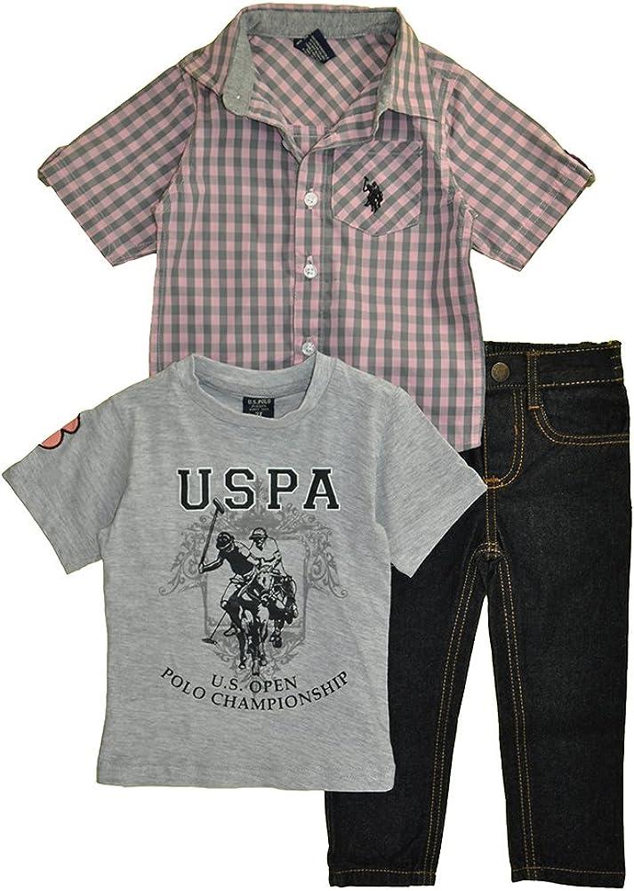 and Denim Jean Set T-Shirt Little Boys 3 Piece Short Sleeve Shirt Polo Assn U.S