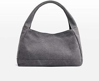 حقيبة يد - حقيبة يد صغيرة ذات سعة كبيرة، حقيبة قماش بوليستر مقاومة للتآكل، حقيبة ظهر نسائية أنيقة رمادية (32 سم × 20 سم × ...