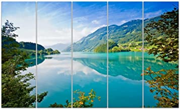 Wieco Art 5 Panels Landscape Pictures Paintings on Canvas Prints Wall Art for Living Room Home Office Decorations The Harmony of Sea and Sky Extra Large Modern Stretched and Framed Giclee Artwork XL