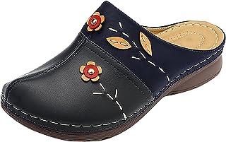 Tongs à talons compensés pour femmes, sandales brodées multicolores, pantoufles confortable plates cuir blanche