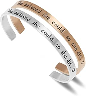 Lucbuy Cuff Bracelet Engraved She believed she could So she did Inspirational Band Jewelry