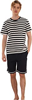 Men's Pajama Set Cotton Sleepwear Lounge Set Short Sleeve Tops and Shorts