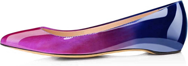AIWEIYi Women's Basic Closed Pointed Toe Ballet Flat Slip On shoes BlackRed