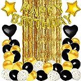 Xnuoyo Juego De Decoraciones De Cumpleaños, Kit De Globos De Cumpleaños Con Globos De Confeti De Oro Negro, Globos De Látex Y Papel De Aluminio, Decoraciones De Fiesta Para Niños, Niñas Y Niños