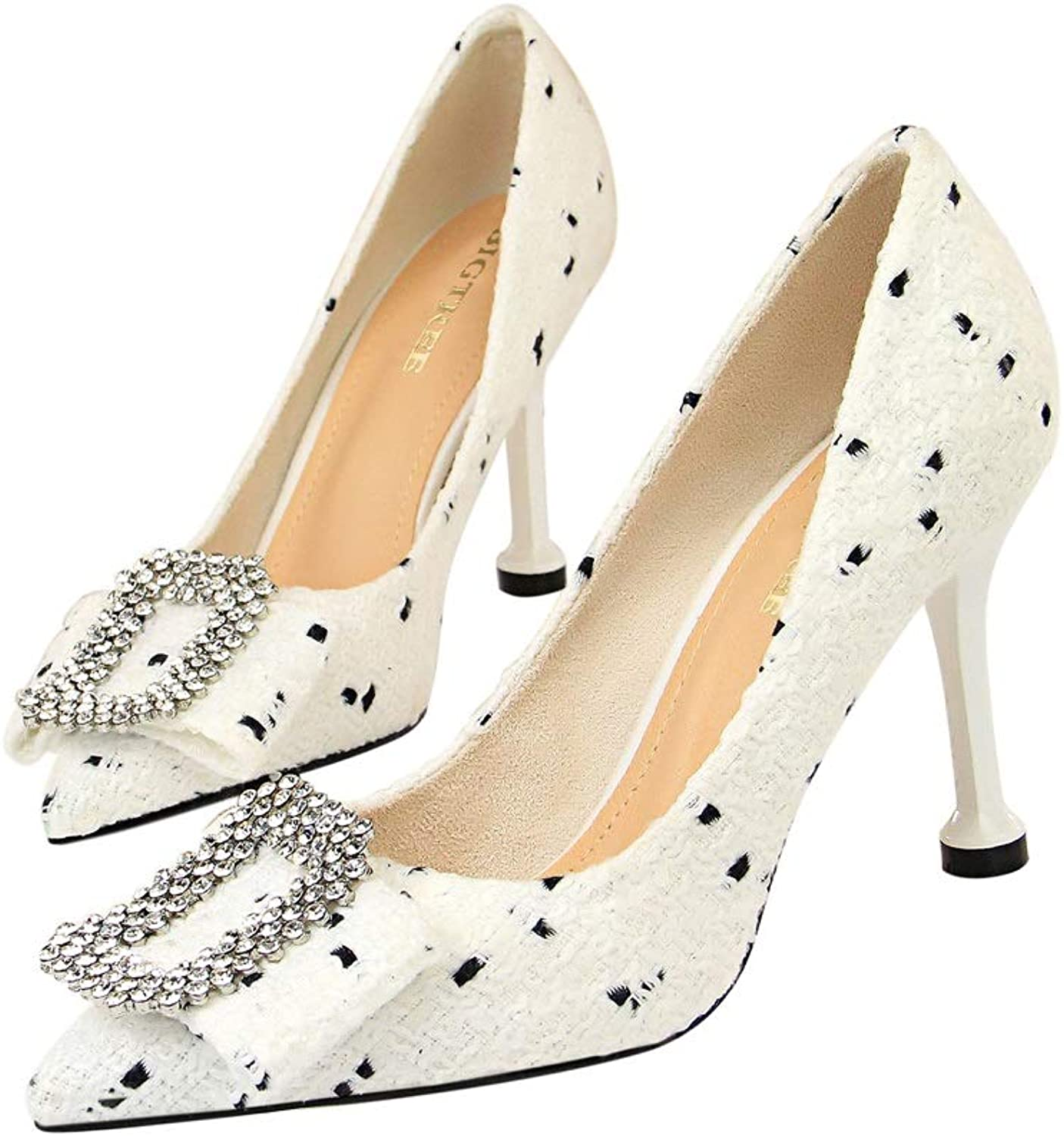 Women's High Heels Sweet Pointed Slip Into The Pump Dress Wedding Bridal shoes