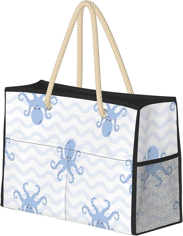 Cartoon Octopus Women Beach Bag Ranking TOP18 Utility Max 58% OFF Tote Reusable Travel
