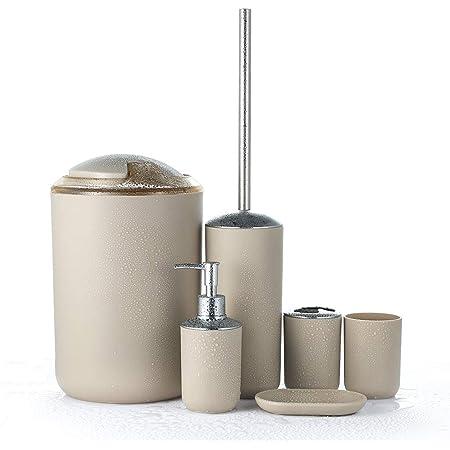 Bambus beige weiss WC-Bürste Seifenspender Papierkorb Utensilien Bad Set 6-tlg