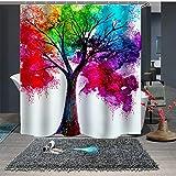 BAIGIO Duschvorhang 180x180cm Wasserdicht Antischimmel Polyester Badezimmer Vorhänge mit 12 Haken, 3D Digitaldruck Farbiger Baum mit Öko-Tex