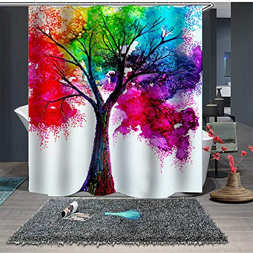BAIGIO Duschvorhang 180x180cm Wasserdicht Antischimmel Polyester Badezimmer Gardinen mit 12 Haken, 3D Digitaldruck Farbiger Baum mit Öko-Tex
