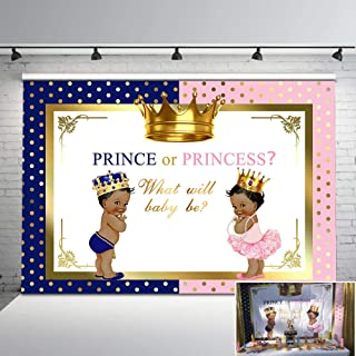 Mehofoto Royal Gender Reveal Party Backdrop Pink or Blue Crown Backdrops for Baby Shower 7x5ft Boy or Girl Photo Background Banner