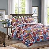 Juego de ropa de cama Boho con patrón floral, 100% algodón, juego de ropa de cama tamaño Queen 3 piezas (1 edredón, 2 fundas de almohada) King, color rojo