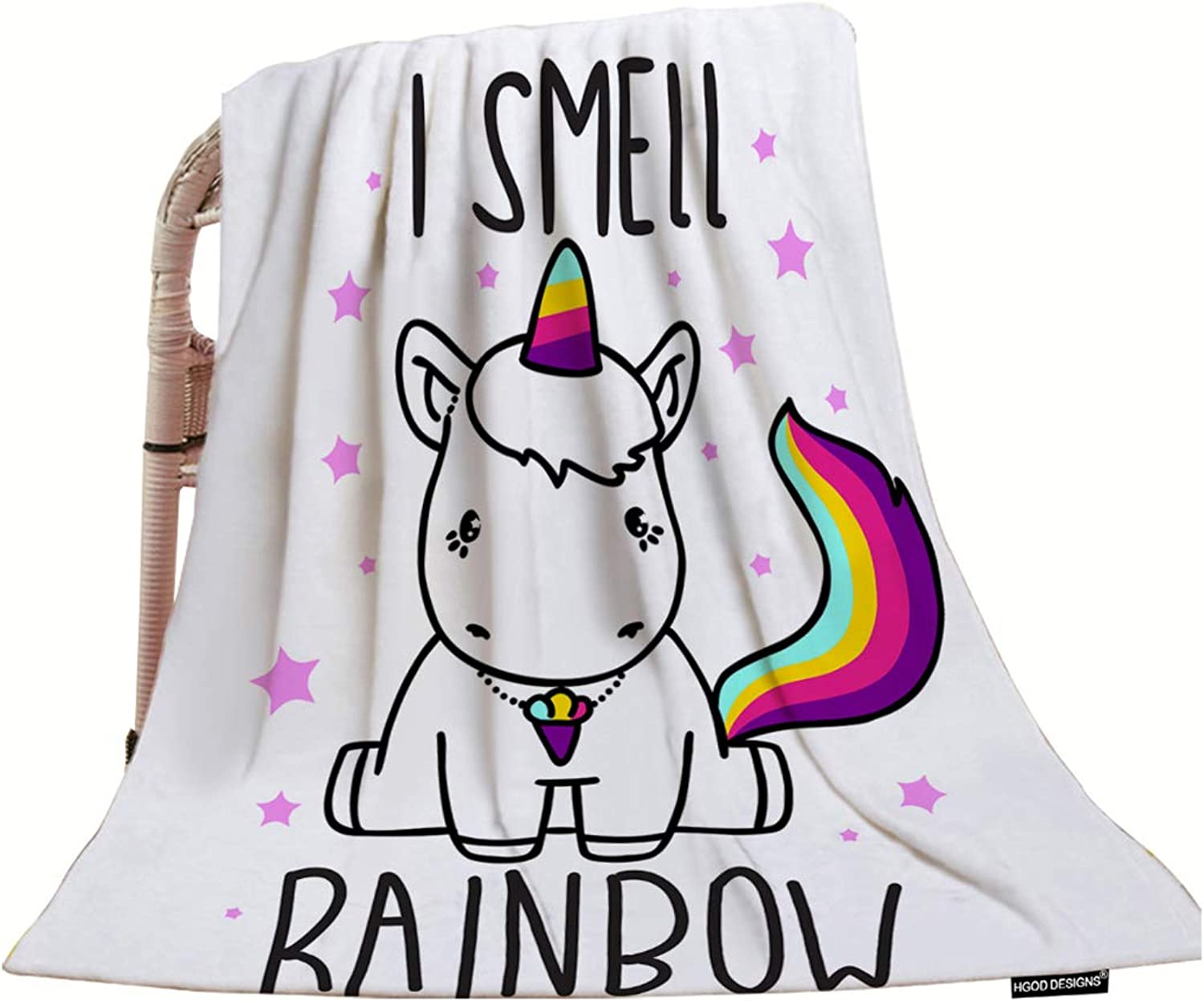 HGOD DESIGNS Unicorn Throw Blanket,Cute Magical Unicorn Baby I Smell Rainbow Soft Warm Decorative Throw Blanket for Bed Chair Couch Sofa 50 X60