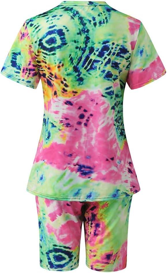 L, Green Womens Tie-dye Geometric Print Tops T-Shirt Blouse+Short Pants Sports Yoga Suit