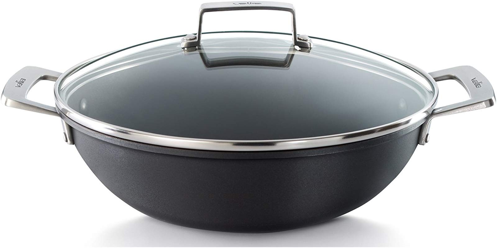 Valira Aire Reinforced Non Stick Scratch Resistant Cast Aluminum Mediterranean Casserole Pan With Glass Lid Induction Ready 3 5 Quart 11 Diameter