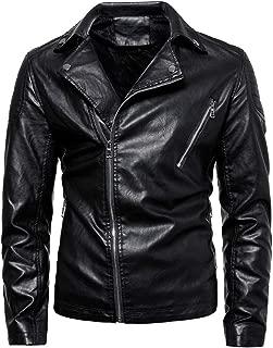 MIUCAT😸 Men Vintage Cool Jacket Leather Long Sleeve Autumn Winter Stand Collar Club Coat