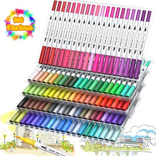Dual Brush Pen Set 100 Farben Filzstifte für Bullet Journal Zubehör Filzstifte Dicke und Dünne Pinselstifte Fineliner Stifte für Kinder Studenten Erwachsene Malbücher Zeichnen Ausmalen