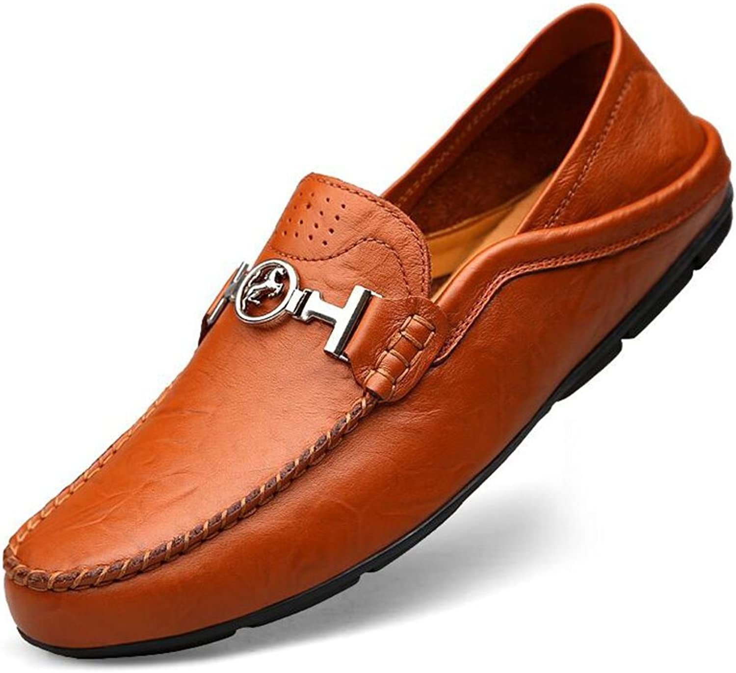 CJC shoes Men's Footwear Casual Leather Loafers Business Flat Driving Uniform Wedding Walking Office Moccasins Breathable (color   T2, Size   EU40 UK7)