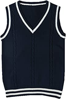 SERAPHY Unisex Knitted Gilets Sweaters Cosplay Costume Classic School Sleeveless Tank Vests Cute V-Neck School Uniform Kni...