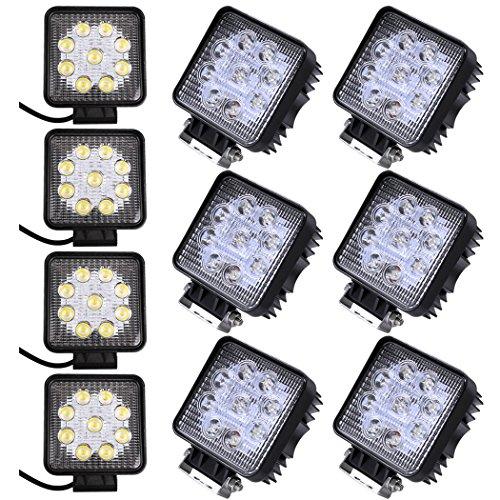 PrimLight 10X 27W LED Flood Work Light Phares à LED Conduite Lampe Conduite Barre Lumineuse pour Off-Road Voiture Camion Bateau SUV UTV ATV, Étanche IP67