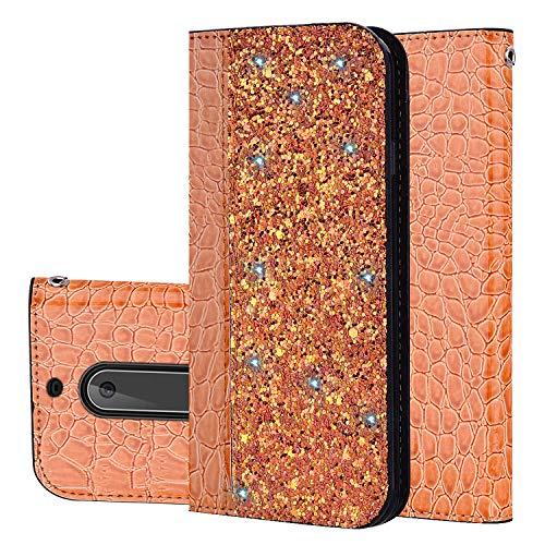 YKTO Custodia per Nokia 5 (2017) 5.2 Pollici Materiali ecocompatibili AntiGraffio Phone Caso Magnetic Staffa Flip Holster Coperchio Protettivo Scintillante Glitter Coperture Nokia5 Oro Arancio