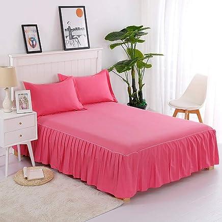 無地のコットンベッドスカート枕カバーソフトレースの寝具プリーツゴムバンド固定保護ケース - 高級ダストフリルベッドカバー (色 : 赤, サイズ さいず : 120×200cm)