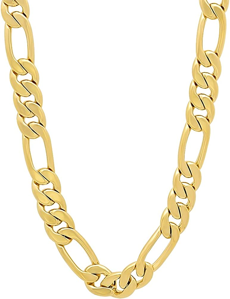 The Ranking integrated 1st place Bling Factory 7mm 14k Yellow Figaro Chain Over item handling ☆ N Plated Gold Flat