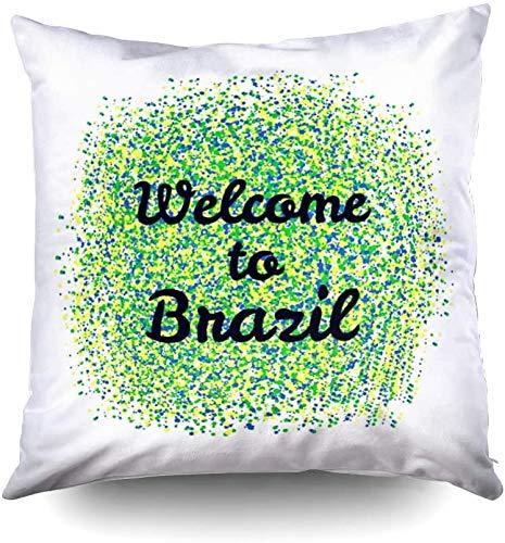 Short Sleeve Funda de Almohada para niños, Fundas cuadradas para Fundas de Almohada Texto estándar de Bienvenida a Brasil en Manchas Amarillas, Azules y Verdes Impresas en Ambos Lados