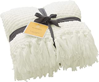 Melody House Super Soft Throw Blanket Woven Plaid Pattern, Decorative Throw with Tassels, 50x60, Antique White
