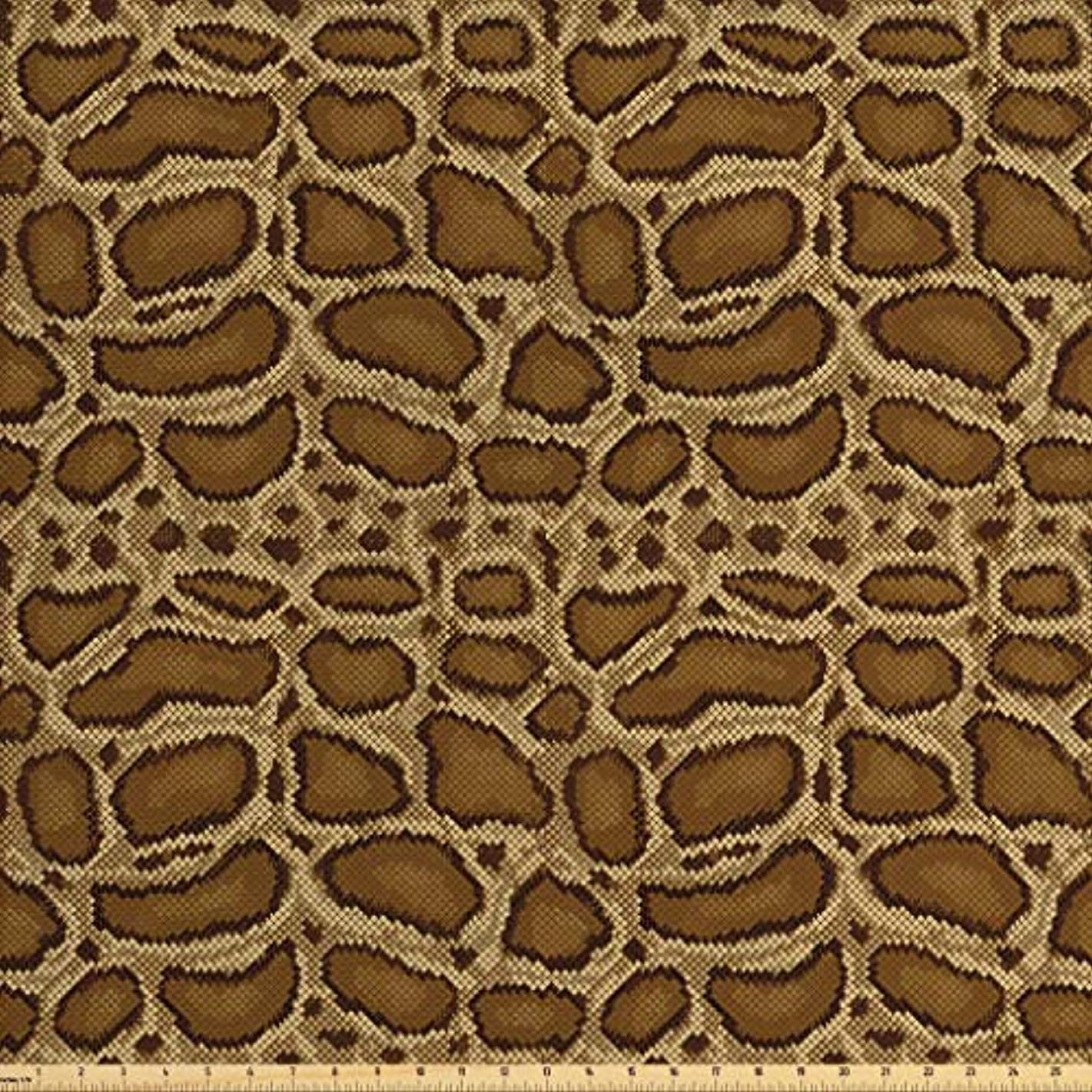 Lunarable Reptile Fabric by The Yard, Python Snakeskin Pattern Geometrical Borders Composition Animal Hide Print, Decorative Fabric for Upholstery and Home Accents, 2 Yards, Caramel Pale Brown