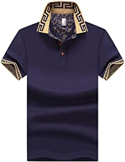 Mens Polo Shirt Classic Causal Short Sleeve Golf T-Shirt Tops,Men's classic slim short-sleeved solid color soft cotton Thi...