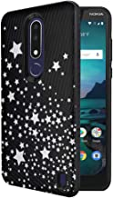 Moriko Case Compatible with Cricket Nokia 3.1 Plus [Tough Slim Hybrid Shockproof Cushion Protective Durable Armor Shield Black Phone Case Cover] for Nokia 3.1+ - (Black White Stars)