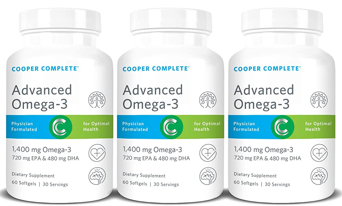 Cooper Complete - Advanced Omega 3 - Fish Oil Supplement, Concentrated EPA + DHA Omega-3 Fatty Acids 1400 mg - 90 Day Supply