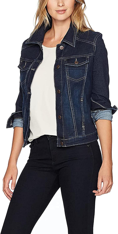 Women's Long Sleeve Denim Outerwear Slim Button Open Front Crop Denim Jean Trucker Jacket Cowboy Outerwear Tops