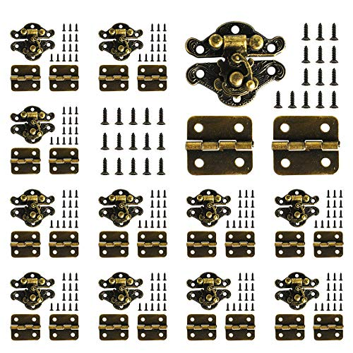 24Pcs Antique Small Box Hinges 12Pcs Antique Latch Hook Hasp Jewelry Box Hinges and Latches for DIY Jewelry Box