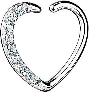 Piercing para cartílago (16 g, 14 quilates, oro blanco sólido, tragus, forma de corazón, hélice, aros de aro con cierre derecho)